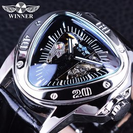 742fef5c064b Ganador Creative Racing Design Triangle Design Plata Esqueleto Dial Mens  Watch Top Brand Luxury Automatic Reloj mecánico Reloj S917