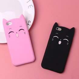 Case Iphone Black Glitter NZ - Cute 3D Silicone Cartoon Cat Pink Black Glitter Soft Phone Case Cover For Iphone X 6 7 8 Plus