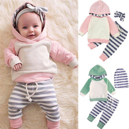 $enCountryForm.capitalKeyWord NZ - Newborn Baby Boy Girl Pink Green Hooded Sweatshirt Striped Leggings Pants Hat Headband Outfits Set Autumn Winter Clothes Baby Clothing Set