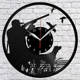 hunting decor NZ - Duck Hunting Vinyl Record Wall Clock Fan Art Home Decor Vintage Wall Art The Best Handmade Gifts(Size:12inch Color:Black)