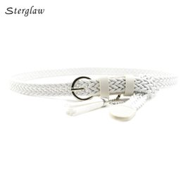 $enCountryForm.capitalKeyWord Canada - 105cm Retro student knitted leather belts for women 2017 casual white tassels woven belts and straps female thin belt J126