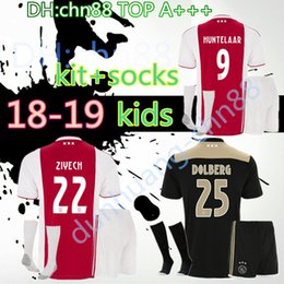 91cd1a34284 top quality 2018 2019 Ajax FC Soccer Jerseys kids kits + socks 18 19 Camisa  ZIYECH KLUIVERT NOURI DOLBERG YOUNES Jerseys Football Shirts
