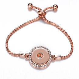 gold twisted chains for men 2019 - 2018 New Hot Sale Rose Gold 18mm Snap Bracelets European Charm Bead Bangle & Bracelet Fashion Jewelry For Women Men IB13
