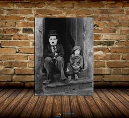 Чарльз Чаплин дверной проем Современная абстрактная картина маслом холста Печать Декорация стены стены для гостиной Домашнее украшение Подставил / Без рамки