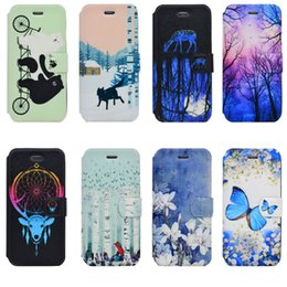 Iphone sIlIcone art cases online shopping - For Wiko U Feel Lite Lenny Pulp FAB Jerry Art Pattern PU Leather Stand Wallet Case With Card Holder And Magnet For iPhone S Plus