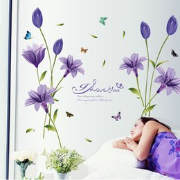 self stick flower decals 2019 - Vinyl Lily Flower Wall Sticker Bedroom TV Background Home Decor Wall Decals Stickers On The Wall
