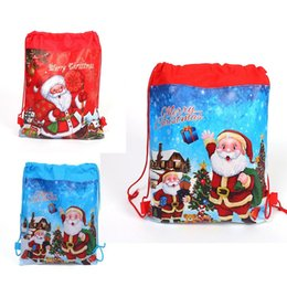 Wholesale Santa Claus Drawstring Bags x27cm Non Woven Double Printed Sling Bag Kids Toy Storage Bags Schoolbag Gift for Girls Party Birthday