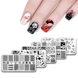 ur sugar 1pc happy valentines day unicorn flamingo simple triangle wave line stamping template manicure nail art diy plate