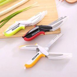 $enCountryForm.capitalKeyWord Australia - Clever Cutter Stainless Steel Food Meat Vegetable Fruit Scissors 6 In 1 Kitchen Multifunction Knife Cutting Board 3 Color HOT