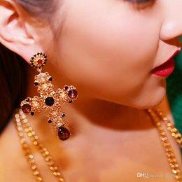 $enCountryForm.capitalKeyWord Canada - New design baroque retro style big cross ear drop vintage dangle rhinestone earrings for women fashion jewelry wholesale free shipping