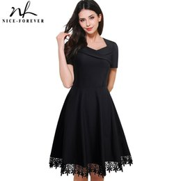 Wholesale swing black resale online - Nice forever Vintage Elegant Stylish Embroidery Lace Sweat Heart Neck Ball Gown Women Short Sleeve Little Black Swing Dress A032