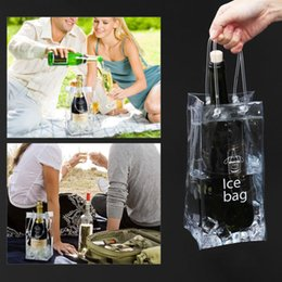 Wholesale Portable PVC Ice Bag Wine Storage Bottle Drinking Wine Bottle Ice Bag Cool Holder Party Picnic Drink Beer Cooler Carrier Clear FFA403