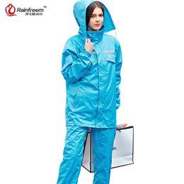 Rains Pants Canada - Rainfreem Impermeable Raincoat Women Men Hood Rain Poncho Waterproof Rain Jacket Pants Suit Rainwear Men Motorcycle Gear
