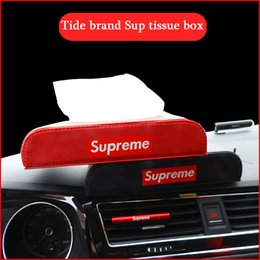 Carro Cars NZ - 2018 Promotion Special Offer Seat Type Tissue Box Cover Carro Wholesale-car Tissue Box Holder Tide Brand Car Decoration Black Leather Paper