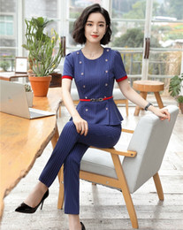 Discount ladies wear blazers - New 2018 Fashion Ladies Blue Striped Blazer Women Business Suit with Pant and Jacket Set Work Wear Clothes with Belt