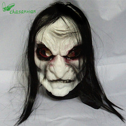 zombie masks 2019 - Horror! Halloween Mask Long Hair Ghost Scary Mask Props Grudge Ghost Hedging Zombie Realistic Silicone Masks Masquerade,