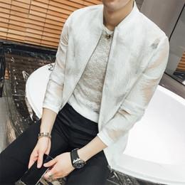 Wholesale wave fashion clothing online – oversize British Style Jackets Men Fashion Spring Summer Sunscreen Clothing Wave Pattern Slim Fit Thin Bomber Polyester Jacket Windbreaker xl