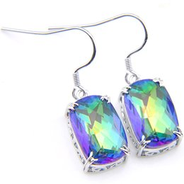 China 10Prs Luckyshine Classic Fashion Rainbow Rectangle Mystic Topaz Cubic Zirconia Gemstone Silver Dangle Earrings for Holiday Wedding Party New supplier mystic earrings suppliers