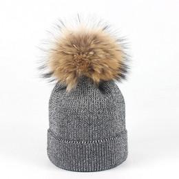 Knitted Hair Hat NZ - Hair ball wool hat tide ladies autumn and winter silver silk knit hat warm earmuffs
