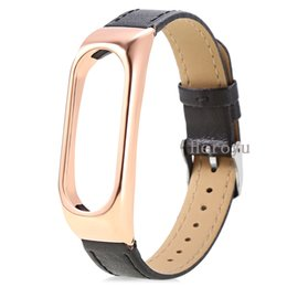 leather housing UK - Leather Strap With Metal Housing Gold for Xiaomi Mi Band 2 Smart Bracelet Replace Wearable Accessories Free Cover Black Red