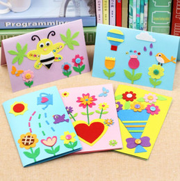 wholesale cartoon postcards NZ - Mother's Day DIY Cartoon Animals Postcard Greeting Cards with Envelops Wishes Cards Kids Gift DIY Craft Cards