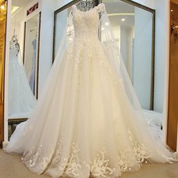 New Model Wedding Dresses With Long Tulle Cape Lace Skirt O-Neck Cap Sleeves  Shoulder Shawl New Luxurious Gowns Wedding 0a3daf5a5800