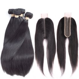 Long weave hair online shopping - Peruvian Virgin Hair Straight With x2 Closure Bundles Peruvian Straight Hair With Closure Deep Long Middle Parting Human Swiss Lace