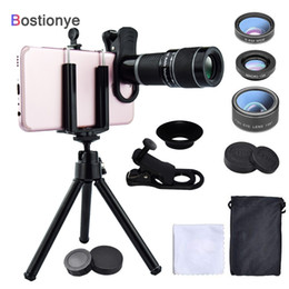 Angle Clamps Australia - Bostionye 20X Telephoto Lens 6in1 Fisheye wide angle Macro Camera Lens Mobile Zoom telescope Phones General clamp With tri