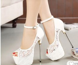 Summer Wedding Wedge Shoes Ivory NZ - suwar Custom-made stiletto sandals 2018 spring and autumn club sexy lace metal and fish mouth women's shoes