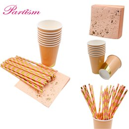 marble roses 2019 - Rose Gold Disposable Tableware Imitation Marble Plate Gilding Paper Straws CupTable Decoration Wedding Birthday Party Su