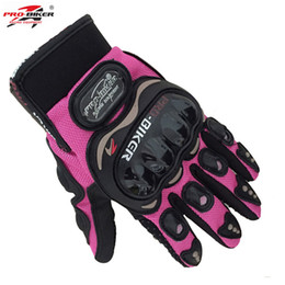$enCountryForm.capitalKeyWord UK - PRO BIKER knight full finger small size S pink orange black women motorcycle gloves Moto Mujer Luva moto race female Gloves