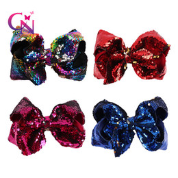 $enCountryForm.capitalKeyWord NZ - 2018 Fashion 8 Inch Large Sequin Mermaid Two Tone Hair Bow With Clip Baby Jojo Bows For Valentines Day