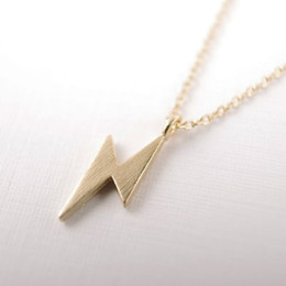2018 Fashion Gold-color silver plated Lightening Bolt Necklace Pendant Necklace for women gift Free Shipping Wholesale