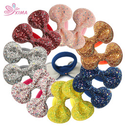 Hair Glitter Elastic Australia - XIMA 14pcs lot 2.8''Glitter Hair Bows With Elastic Nylon Hair Band For Girls Boutique Ties Fashion Ponytail Holders