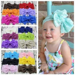 $enCountryForm.capitalKeyWord Canada - 22 colors Baby Big Bow Headbands Girls Stretch Lace Hair Band Infant Kids Headwrap Children Lovely Bowknot Elastic Hair Accessories KHA202
