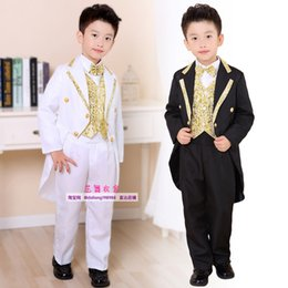 Discount piano suit - Boy Formal Dress Tuxedo Piano Performance Costume Flower Boys Birthday Wedding Suits 5pcs Jacket + Vest + Shirt Pant Tie