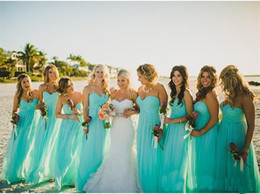 turquoise wedding dress beach 2018 - Cheap Turquoise Chiffon Beach Bridesmaid Dresses Plus Size Floor Length Wedding Guest Party Dress for Summer Formal Even