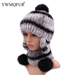 b9941c88604 Winter Women Fur Hat Neck Scarf Sets Ear Protection With Cute Fur Balls  Vintage Rex Rabbit Female Caps Scarves New Arrival