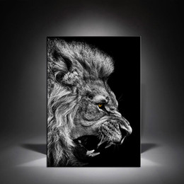 Black white framed posters online shopping - 1 Black White Lion Head Canvas Paintings Wall Art Posters Modern Home Decor Pictures For Living Room No Framed