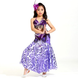 d378f7d4ddbb Bellydance Costume Kids Professional Oriental Dance Costumes Belly Dance  Girl Dancing Wear 3-pieces Beaded Bra Belt