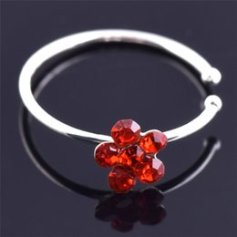 $enCountryForm.capitalKeyWord NZ - Small Thin Flower Clear Crystal Nose Ring Stud Hoop-Sparkly Crystal Nose Ring for girlfriend birthday gift