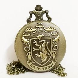 necklace lion 2018 - New Harry Potter Hogwarts Gryffindor School Lion Color Dial Quartz Pocket Watch Analog Pendant Necklace Men Women Watche