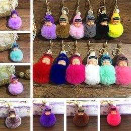 Wholesale 29 Colors Cute Sleeping Baby Doll Keychain Pompom Rabbit Fur Ball Keyring Women Bag Pendant kids Cartoon Accessories T6C081