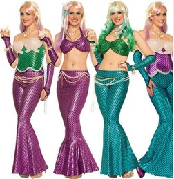Costumes Parties Australia - Sexy Blingbling cosplay Gold Mermaid Sequined Girls Mermaid skirt Costume Halloween elf princess shell bra Malidaike DS Party dresses