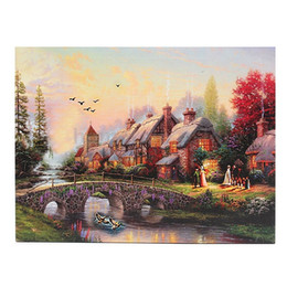 led canvas prints NZ - LED Luminous Country Scenes Canvas,Handpainted  HD Print Landscape Wall Art Oil Painting On Canvas.Home Decor Multi Custom Sizes  Frame Ls58