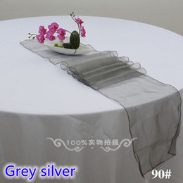 Table Runners Crystals Australia - Grey silver colour Organza Table runner Crystal organza table decoration wedding hotel home banquet party tablecloth runner