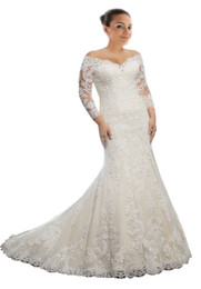 $enCountryForm.capitalKeyWord UK - 2018 Modest Off the shoulder Wedding Dress Plus size Mermaid Illusion Long Sleeves Lace Applique Corset Back Designer Cheap Wedding Gowns