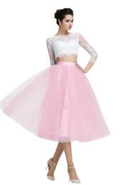 $enCountryForm.capitalKeyWord UK - Elegant White Pink Tea Length Evening Dress Cheap 2018 Illusion Long Sleeve Bateau Sheer Neck Tulle Two Piece Prom Formal Dress