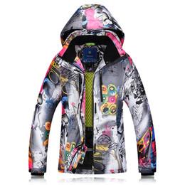 2018 Chaquetas de esquí de invierno para mujer, de doble tablero, ropa de esquí, a prueba de viento, impermeable, cálida y gruesa, chaqueta de abrigo para mujer en venta