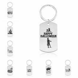 $enCountryForm.capitalKeyWord NZ - Halloween Keychains Stainless Steel Pumpkin Lantern Printing Keyrings Men Women For Children Gift New Arrival Jewelry Wholesale